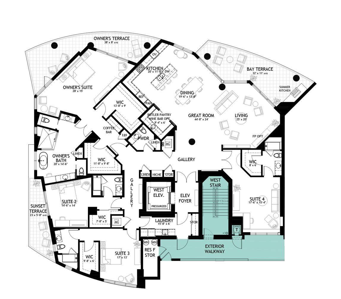 Virage Bayshore South Tampa Fairview Penthouse Luxury Floor Plans Apartment Floor Plans Modern Floor Plans