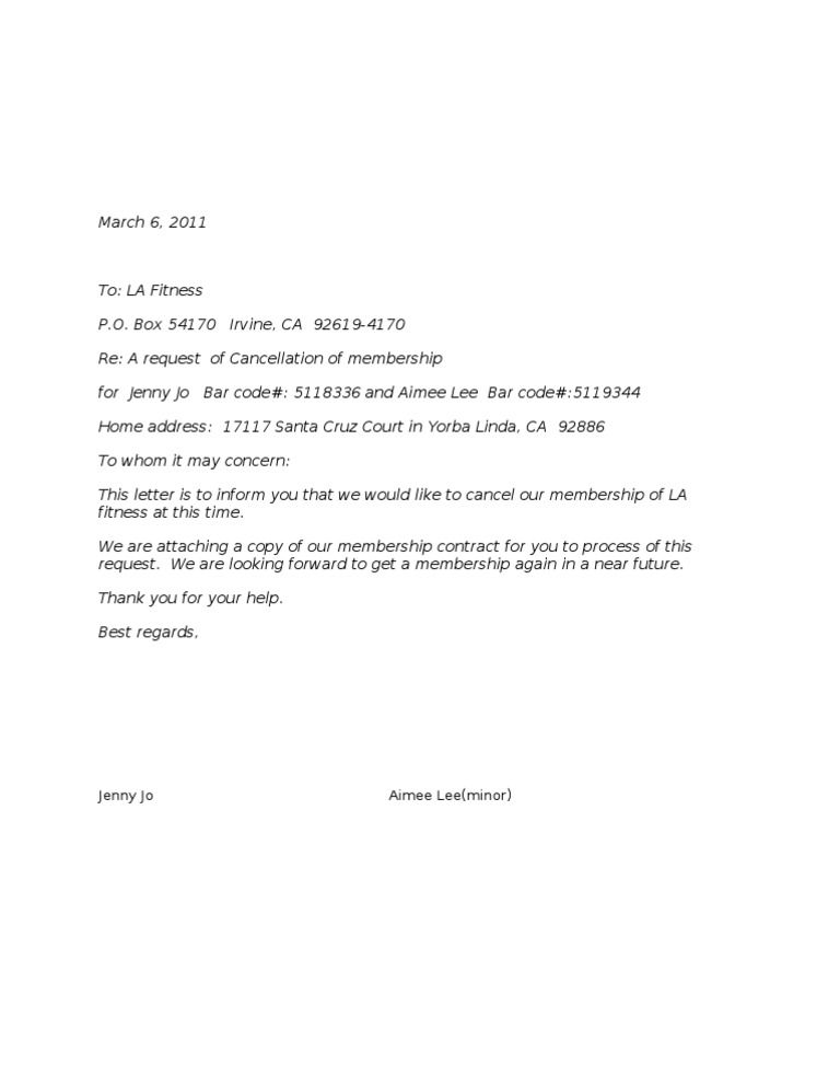 cancellation letter fitness template free word pdf documents - gym contract template