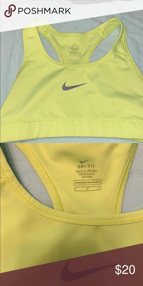 17285876695bf NEON YELLOW NIKE SPORTS BRA Very good condition Nike Intimates   Sleepwear  Bras