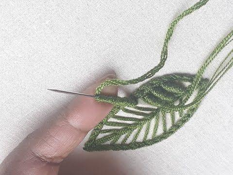 Hand Embroidery Leaf Stitching Leaf Tutorial Youtube Hand
