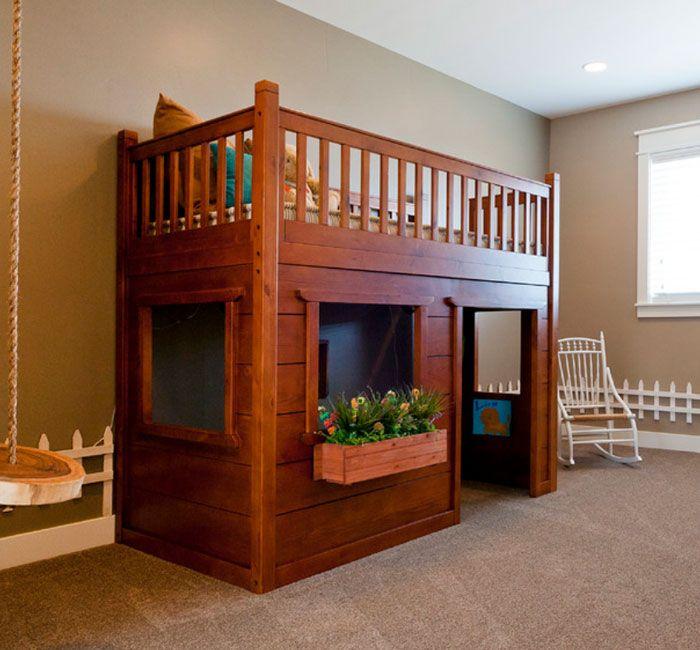 Camas infantiles con forma de casa ni os y padres for Casa madera infantil