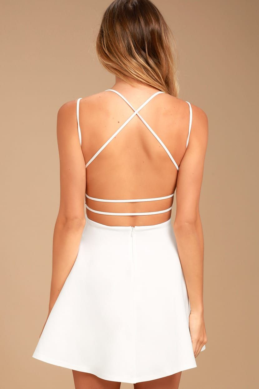 Believe In Love White Backless Skater Dress Skater Dress White Dresses For Teens Backless Dress [ 1245 x 830 Pixel ]