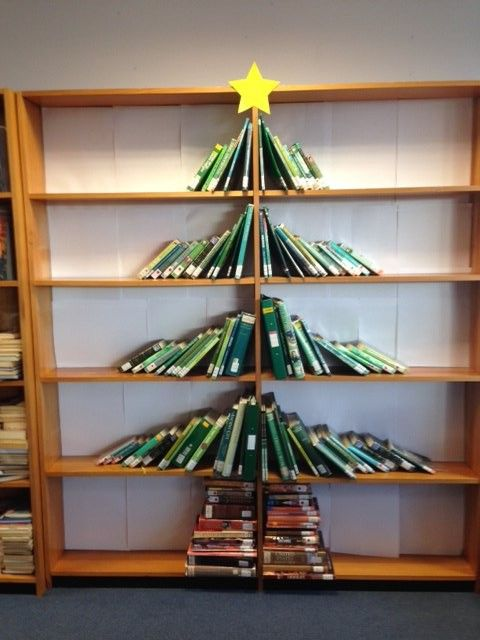 Book Lovers Christmas Trees Heart Of The School Library Decor Christmas Display Different Christmas Trees