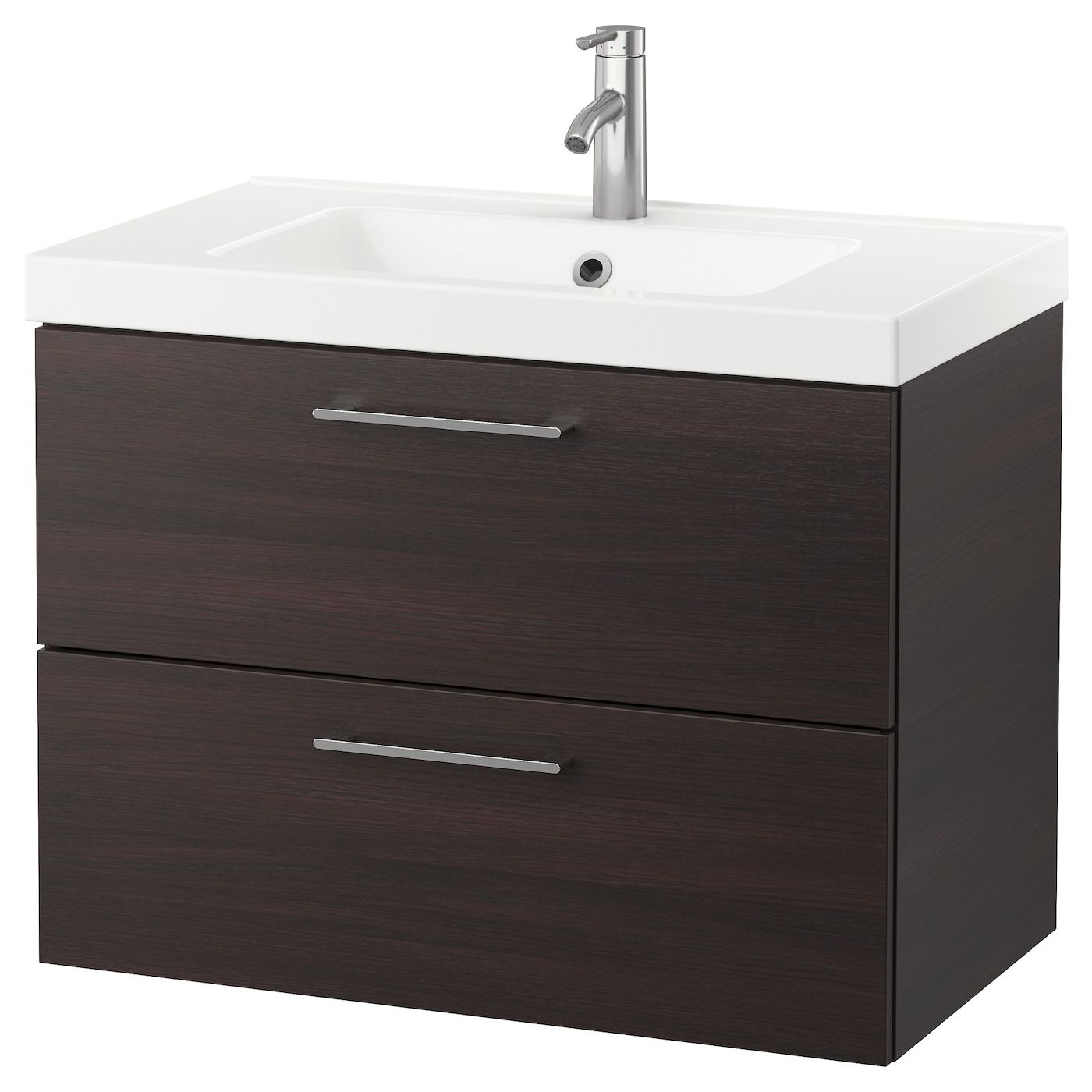 600mm Wall Hung Bathroom Vanity Unit /& Basin Sink Pacific Walnut Modern