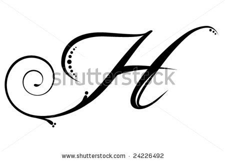 Script letter h. Cute on ring finger under wedding bands
