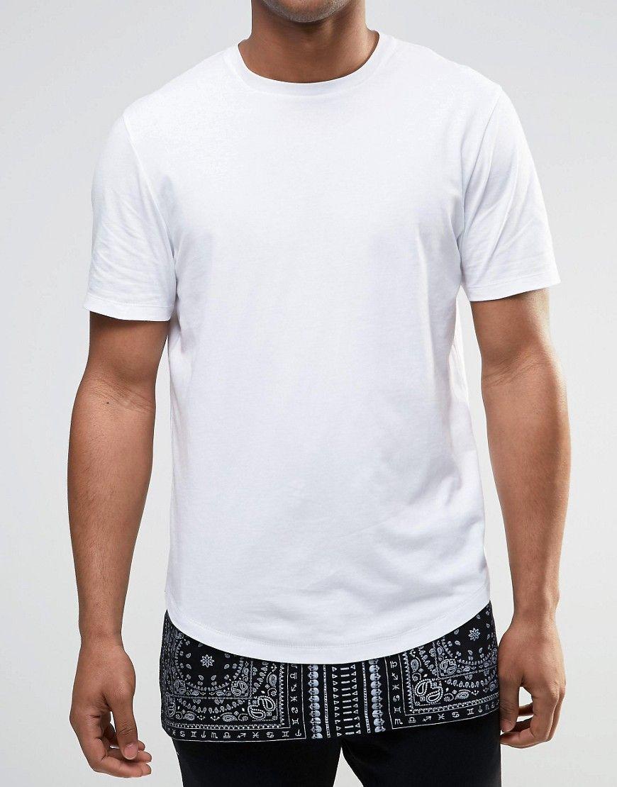 ASOS Super Longline T-Shirt With Bandana Print And Hem Extender at asos.com