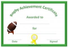 Sports Award Which Reads Rugby Achievement Certificate With A
