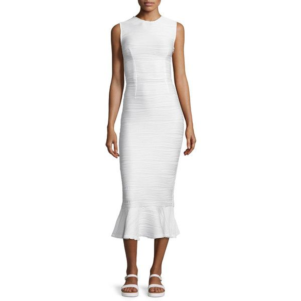 Opening Ceremony Lotus Wavy Stripe Maxi Dress ($455) ❤ liked on Polyvore featuring dresses, white, flounce hem dress, white ruffle dress, keyhole dress, white day dress and striped sleeveless dress