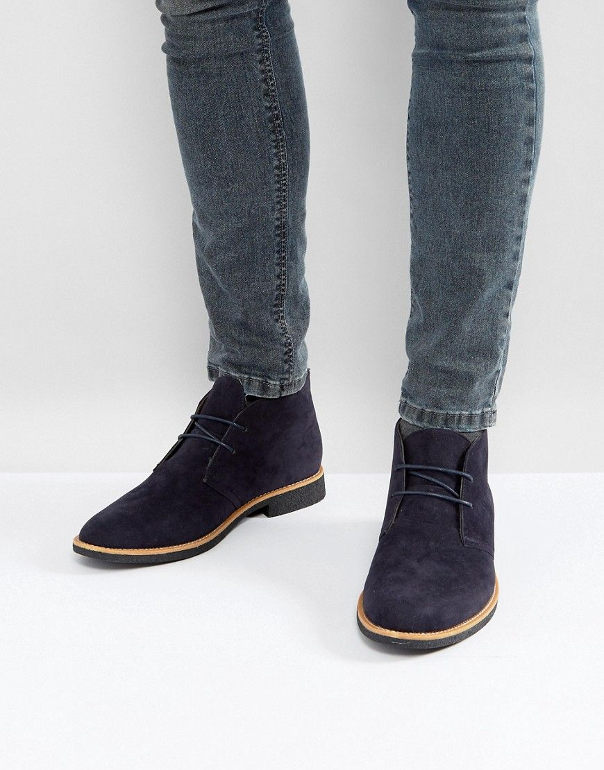 Shop New Look Faux Suede Desert Boots In Navy at ASOS.
