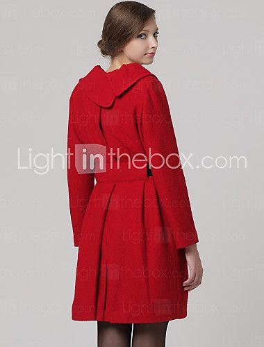 Irregular Gathered Collar Long Sleeves Pleated Coat / Women's Coats (FF-B-0859201) - USD $ 35.99