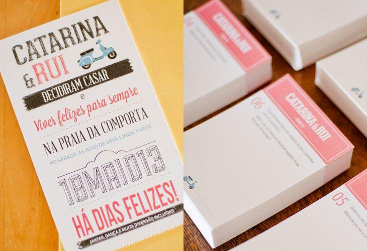 Colourful type wedding invitation.   www.comobranco.com @marryinportugal #comobranco