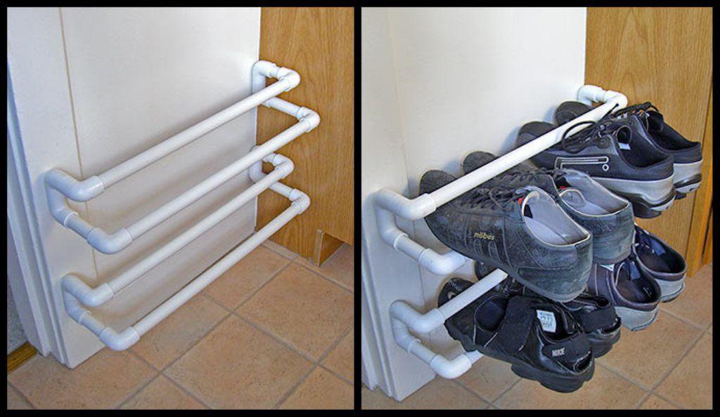 Shoe rack made from pvc pipe pvc shoe rack design for Pvc pipe art ideas