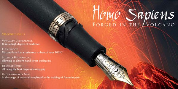Visconti Home Sapiens: The barrel is made from basaltic lava from Mt. Etna in Sicily and is virtually unbreakable.
