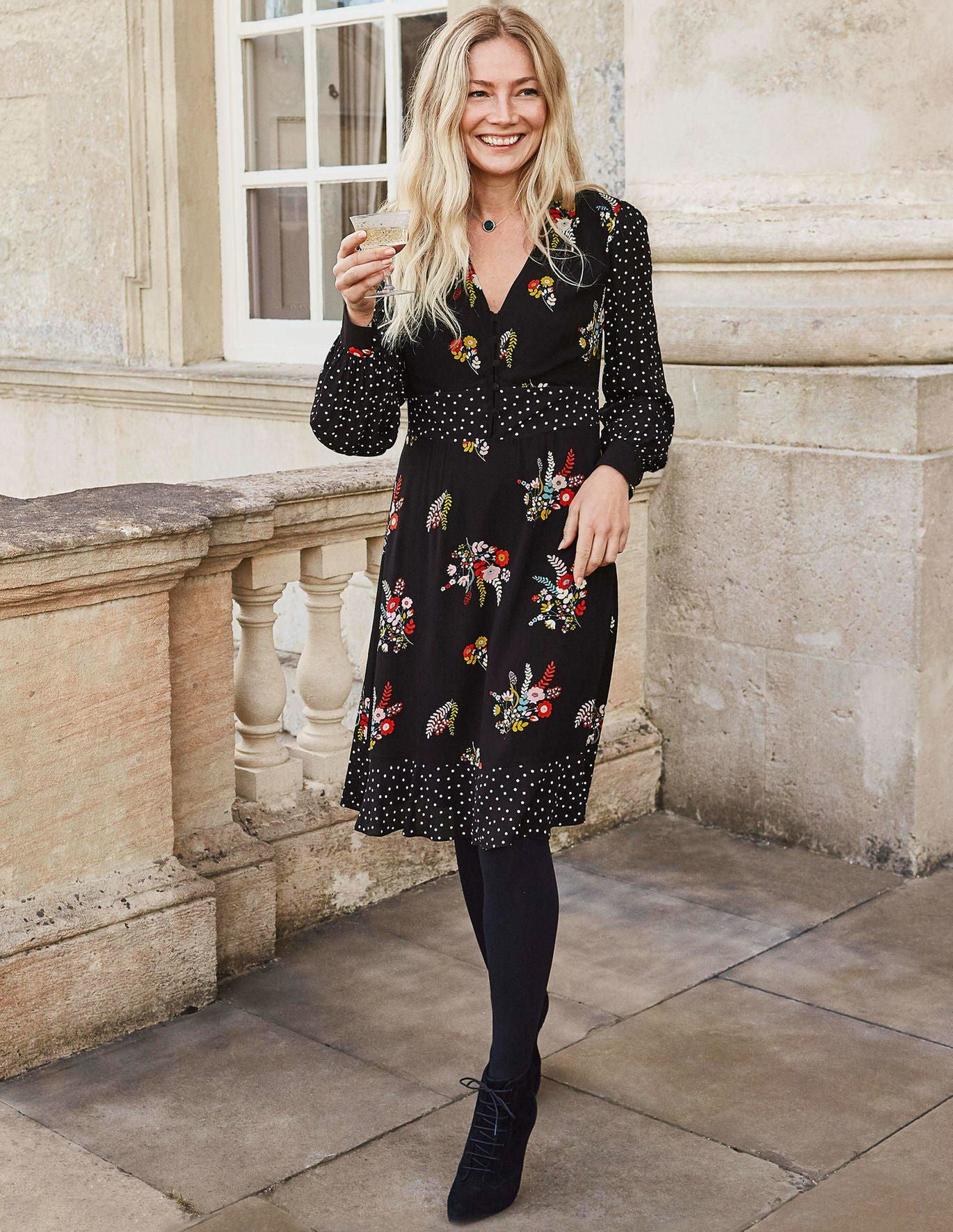 Ivy Dress Black Country Posy Tea Dress Black Dress Dresses
