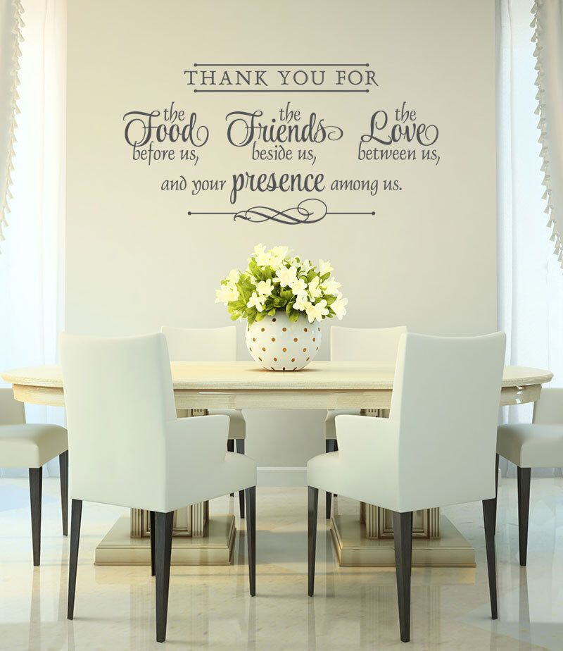 vinyl wall decal thank you wall decal bless the food before us dining room wall quote on kitchen decor quotes wall decals id=36615
