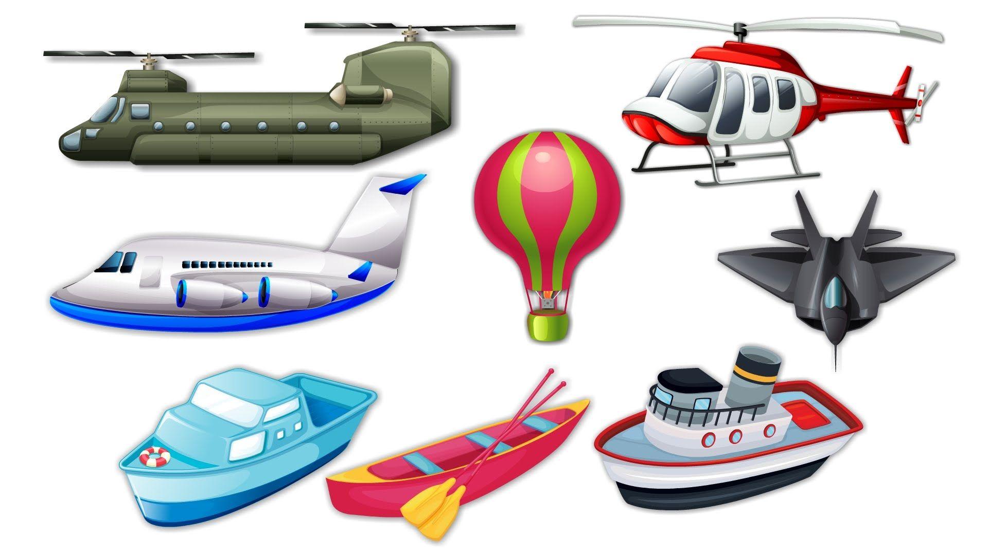 Learning Air and Sea Vehicles Names and Sounds for kids