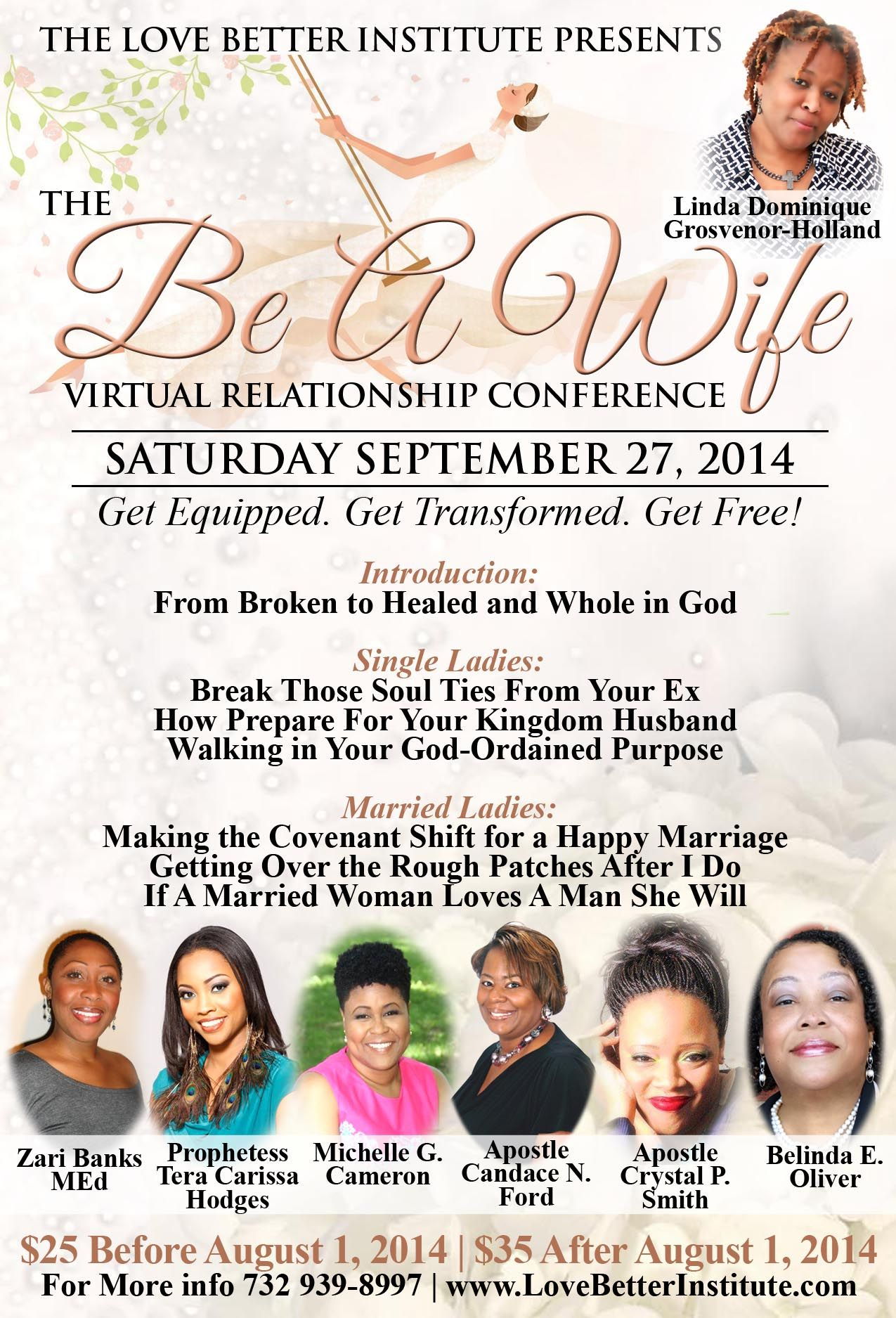 Saturday 9/27/14 this is where you'll find me! Early Bird registration is open!!!  http://www.eventbrite.com/e/be-a-wife-virtual-relationship-conference-tickets-12266049083?aff=estw