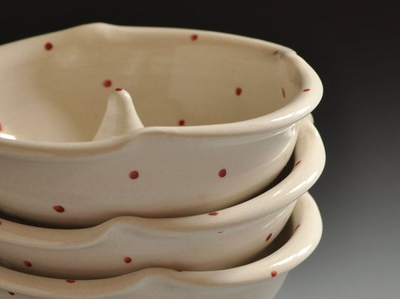 Red Dot Apple Baker set of two by FoodieCeramics on Etsy, $50.00
