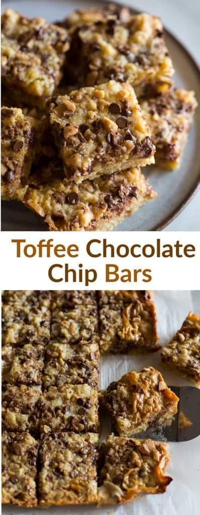 Gooey and delicious Toffee Chocolate Chip Dessert Bars with a chewy crust and  caramel like filling. An easy dessert recipe that is perfect for a crowd. via