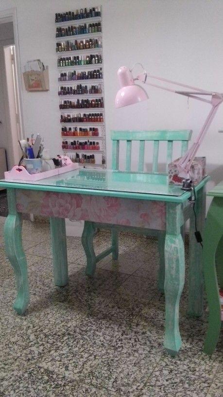 Diy Nail Polish Rack Manicure Table Salon Decor Vintage Beauty