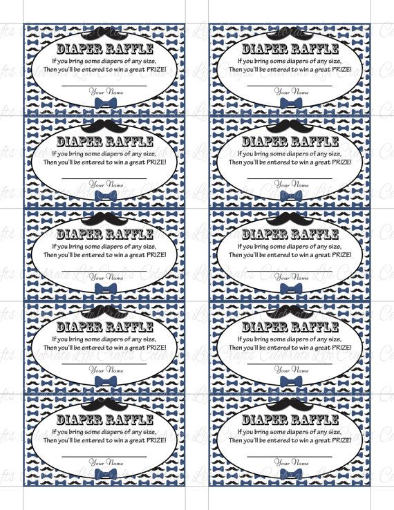 printable diaper raffle tickets baby shower instant download little man blue black mustache bowt