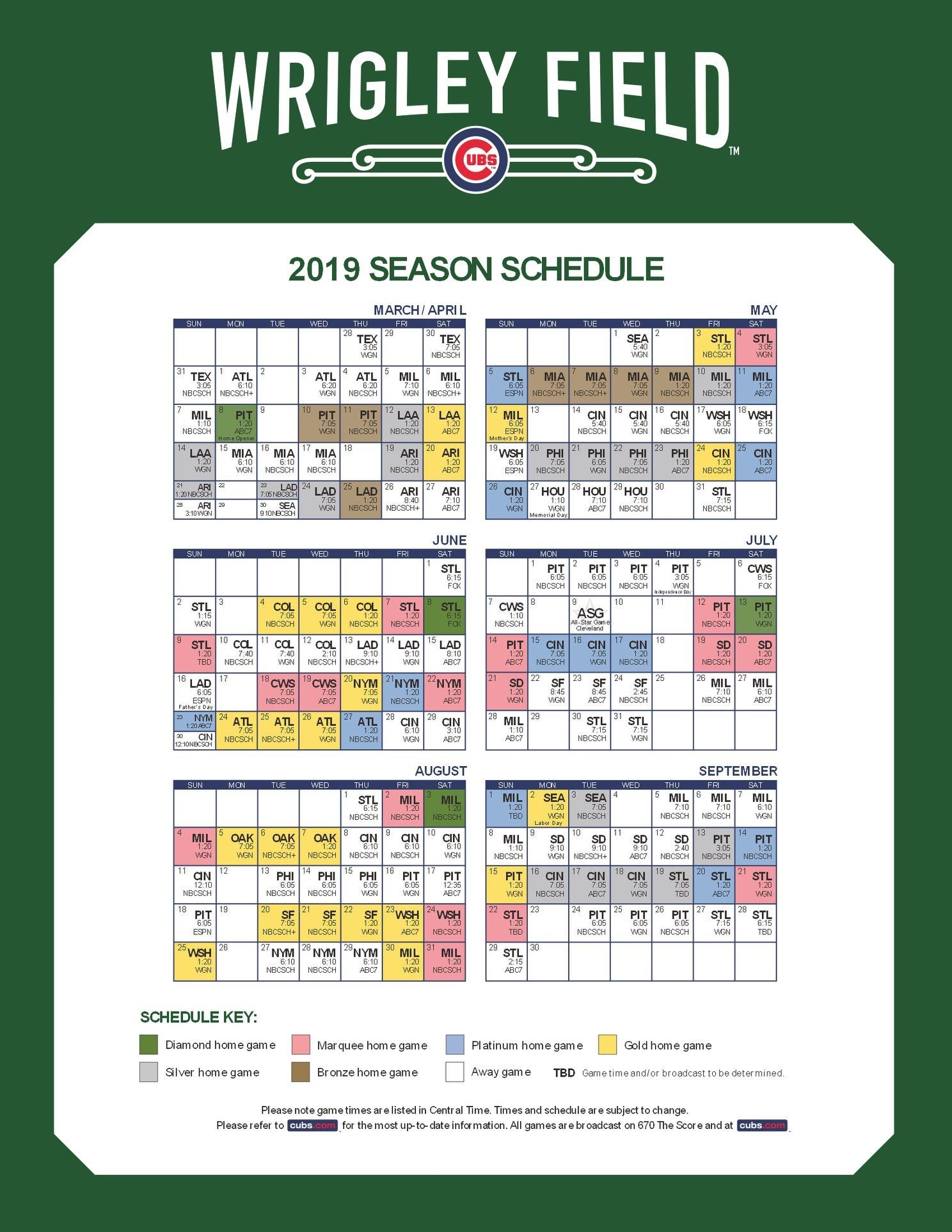 Chicago Cubs Mlb Chicago Cubs Cubs Schedule Chicago Cubs Baseball
