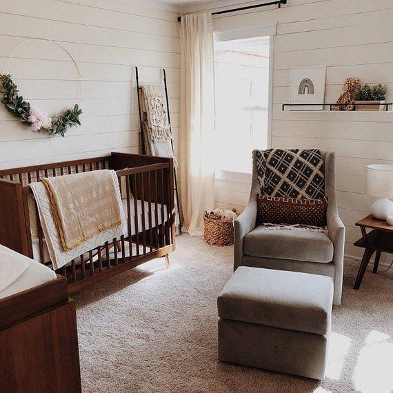 Blush Nursery With Neutral Textures: Floral Hoop, Gold Metal Hoop, Floral Ring, Floral Wreath