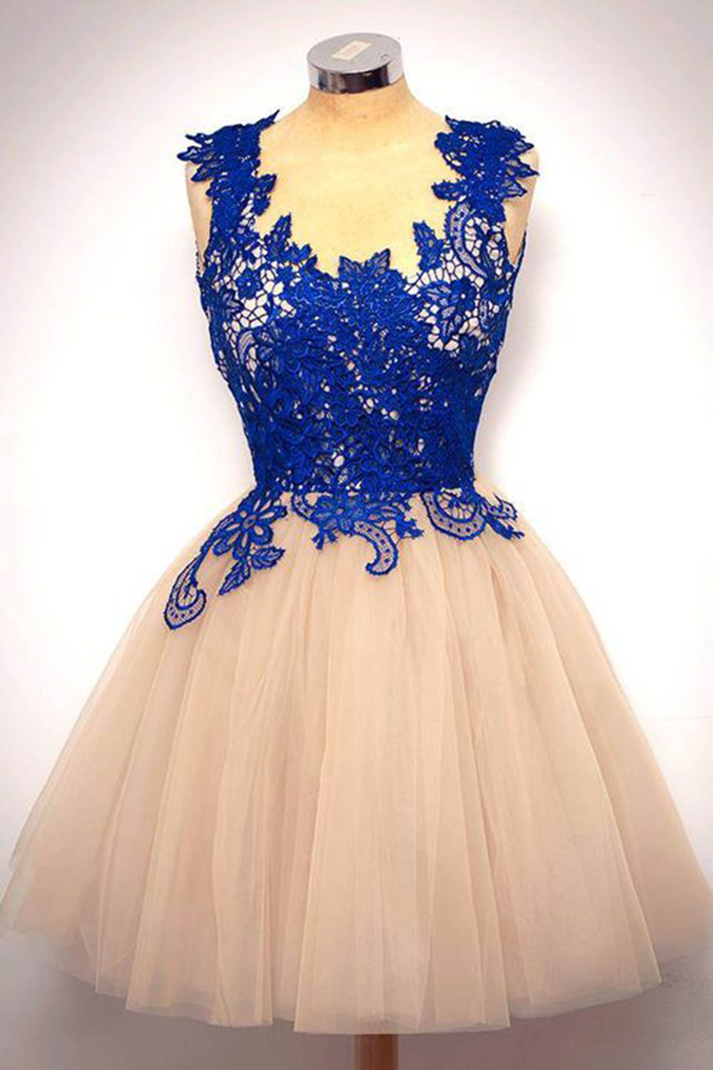 Dress up laundry kebon jeruk - Cute Blue Lace Champagne Tulle Prom Dress Homecoming Dress Short Party Dress For Teens