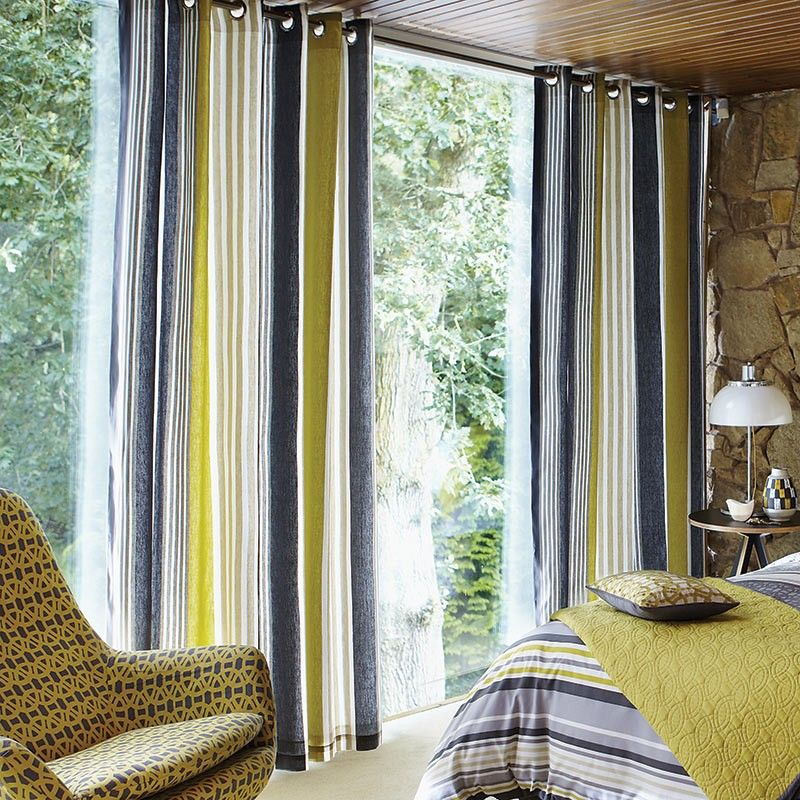 Kitchen Curtains Yellow And Gray: Lace Stripe Slate Grey & Yellow Lined Curtains At Bedeck