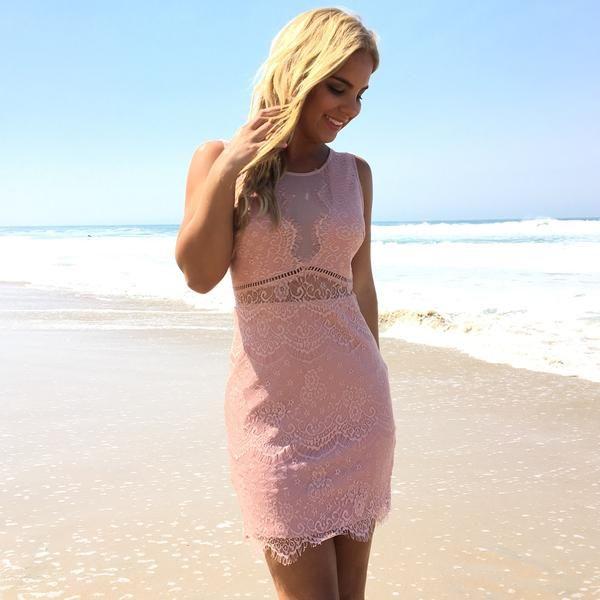 Wonderland Lace Dress In Pink