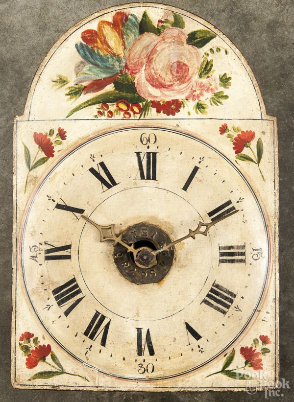 Continental Wag On The Wall Clock 19th C With A Painted Pine Dial 14 1 2 H Clock Timer Clock Wall Clock