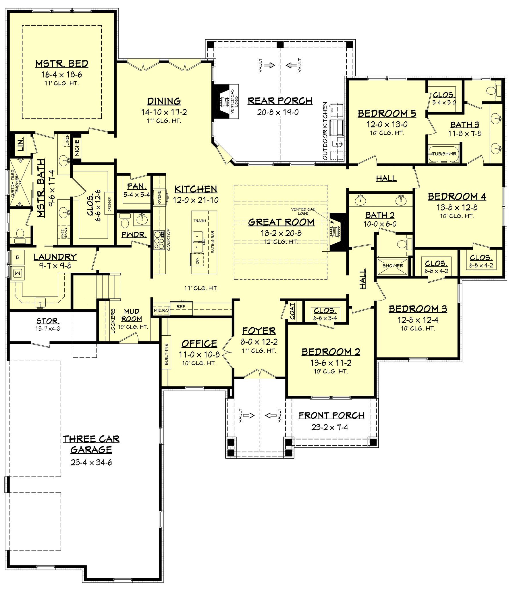 Stillwell House Plan Craftsman Style House Plans Craftsman House 5 Bedroom House Plans