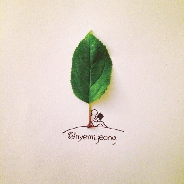 #tree #book #person #reader #leave #plant #rest #draw #drawing #나무 #나뭇잎 #식물 #책 #그림 #손그림