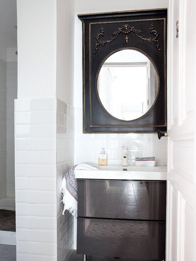 Un appartement entre vintage et classique | Espejo redondo ...