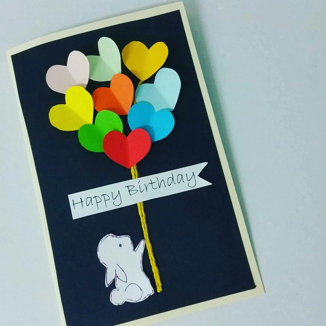 Simple and quick handmade dimensional hearts balloon card. I like the idea of little bunny holding the balloons.