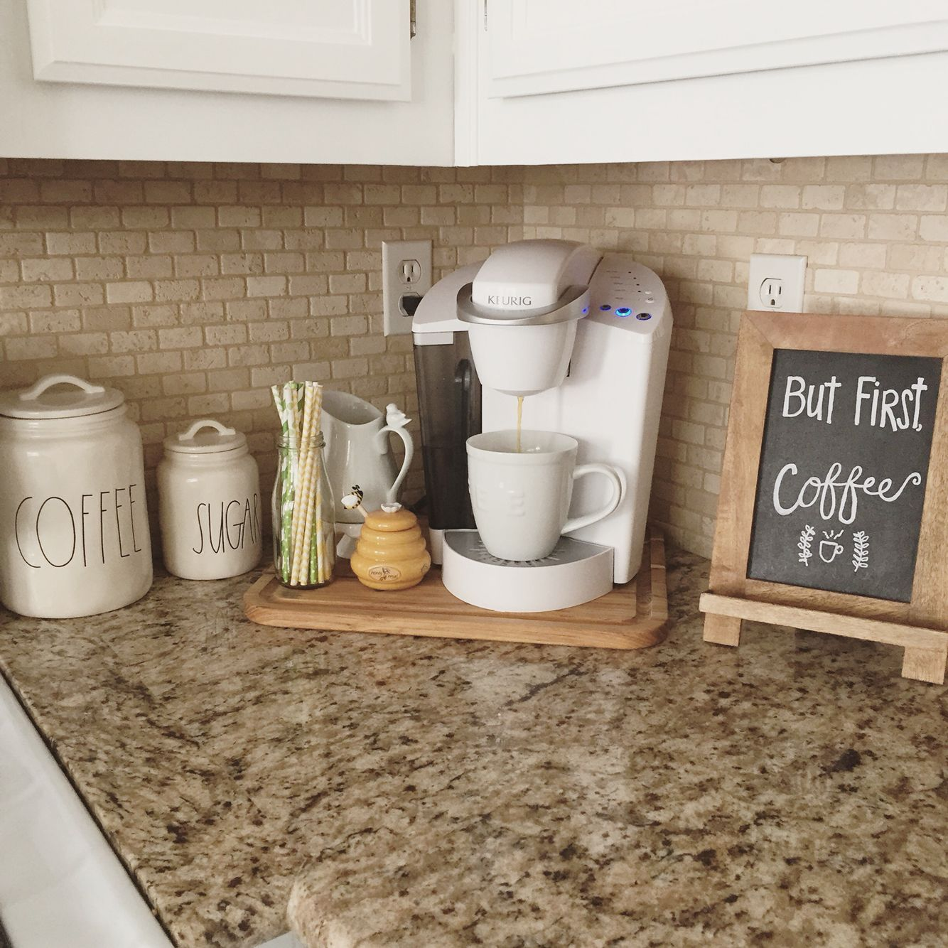 Addicted to coffee check out these 25 ways to make it the for Countertop decor ideas