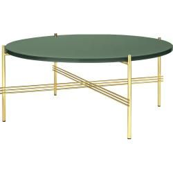 Gubi Ts Coffee Table Beistelltisch Ø 40cm, H: 51cm Tischplatte Glas messing dusty green GubiGubi #roundtabledecor