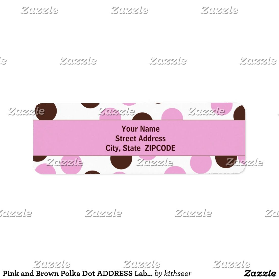 Pink And Brown Polka Dot Address Labels  Letter Writing