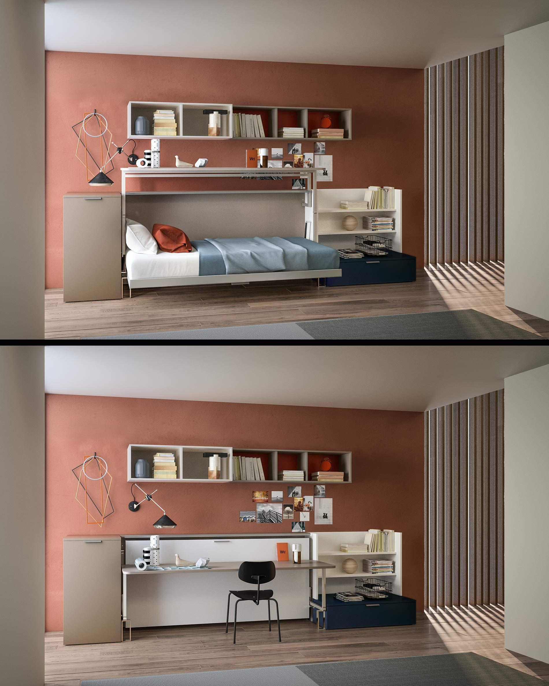 Kinderzimmer mit Schreibtisch und Klappbett Klappbett
