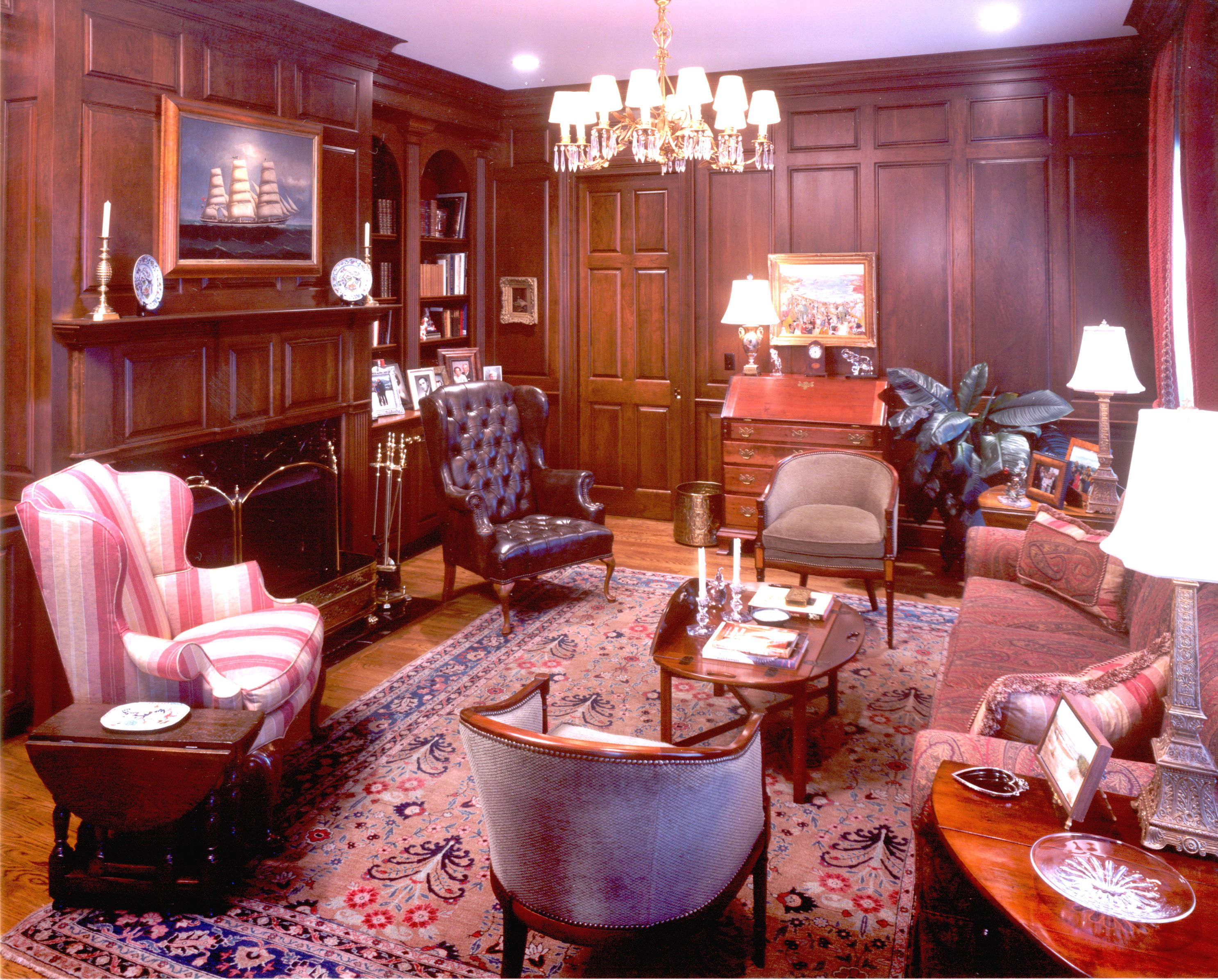 Warm Panelled Library With Paisley Sofa Traditional Family Rooms Paneled Library Home Libraries