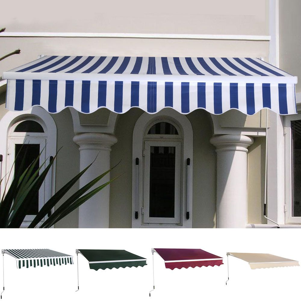 Manual Patio 6.4u0027×5u0027 Retractable Deck Awning Sunshade Shelter Canopy Outdoor New # & Manual Patio 6.4u0027×5u0027 Retractable Deck Awning Sunshade Shelter ...