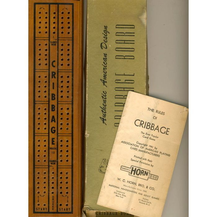 Vintage Wood Cribbage Board Pegs Instructions Other Toys And