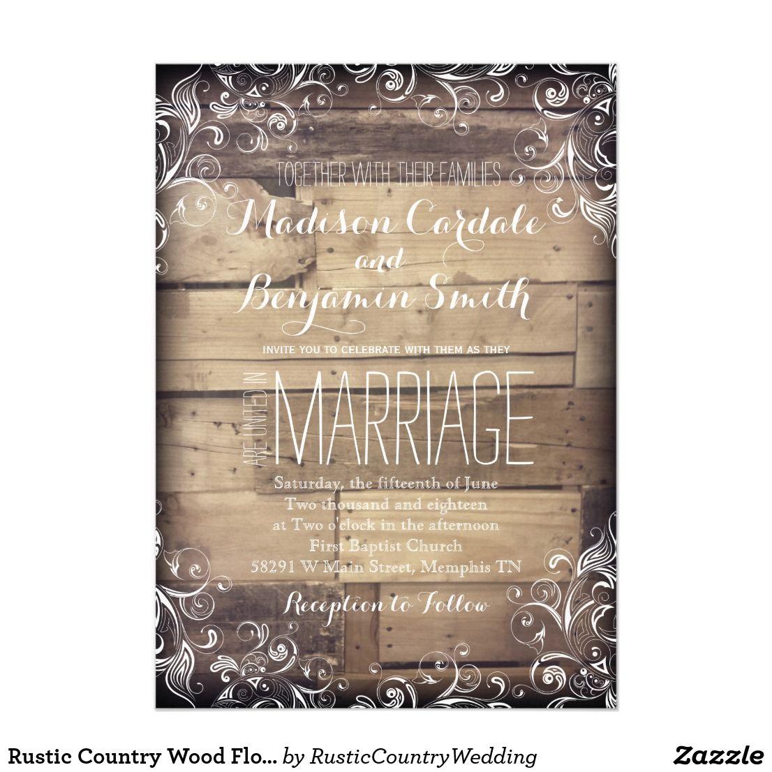 Rustic Country Wood Flourish Wedding Invitations Vintage Elegant ...