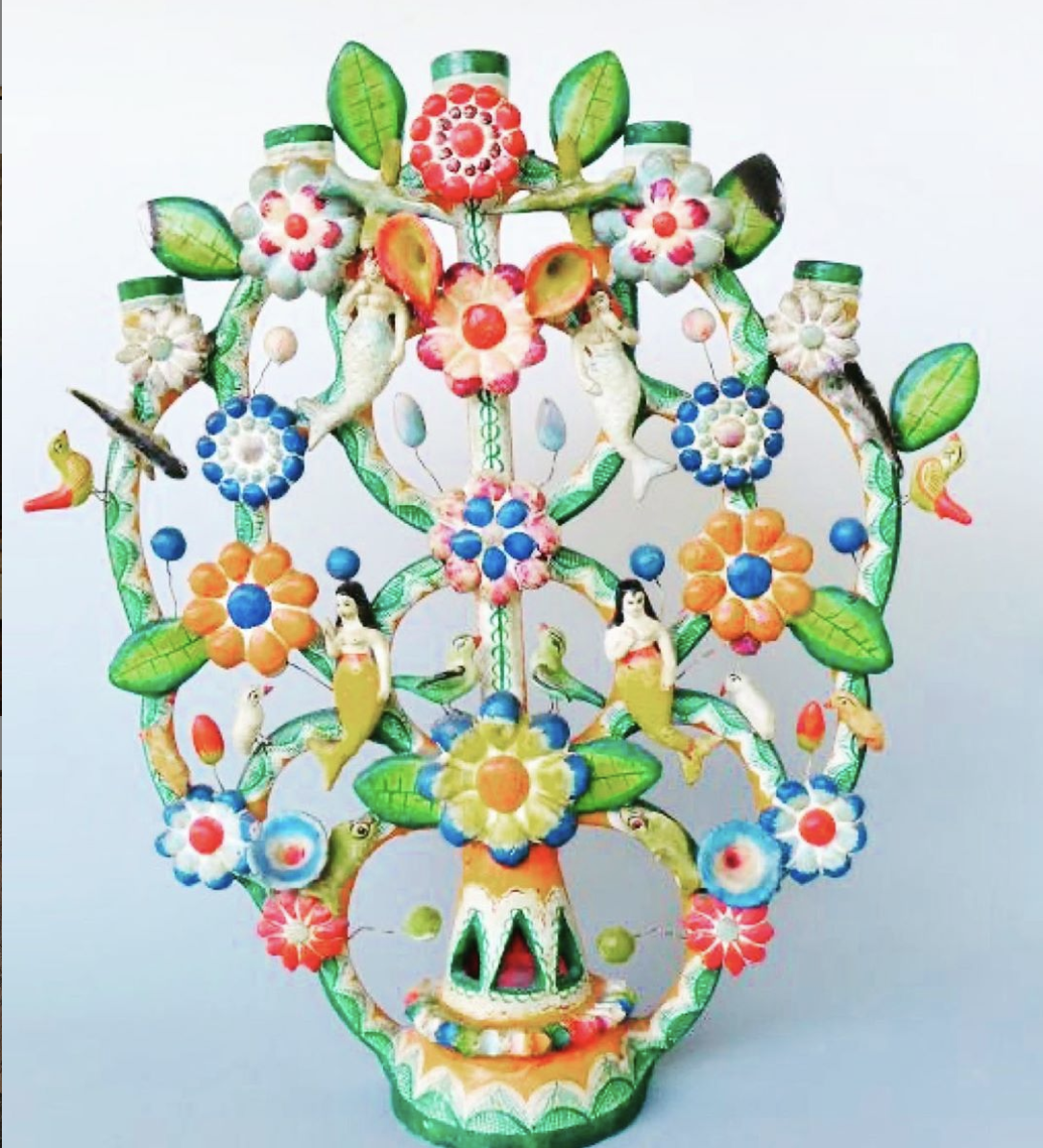 Vintage Mexican Tree Of Life Mexican Folk Art Tree Of Life Art Mexican Colors