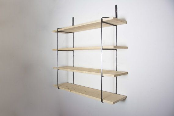 Unpainted Shelving Unit With 4 Shelves Shelving Bookcase