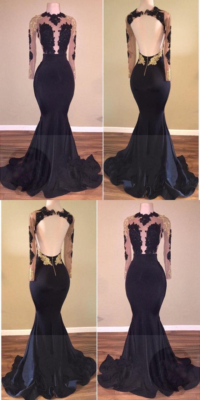 Black Prom Dresses Scoop Open Back Mermaid Short Train Long Prom Dress Jkl962 Prom Dresses For Teens Long Classy Prom Dresses Prom Dresses For Teens [ 1500 x 750 Pixel ]