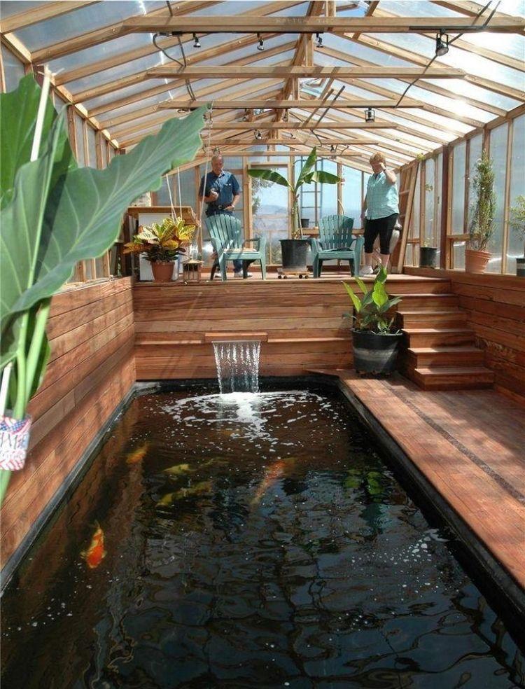 wintergartenholzselberbauentippsteichkoifischeholzbodenpflanzen #wintergardening