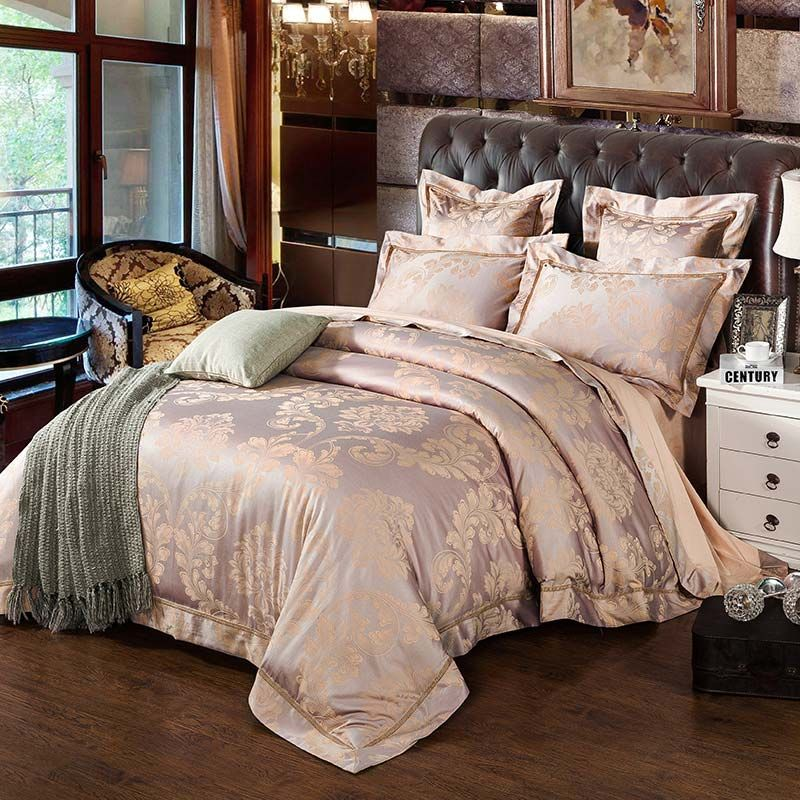 Classical Royal Bedding Set Unique Pink Luxurious Jacquard Bedclothes Soft 4pcs Duvet Cover Sets Rose Gold Bedroom Bed Linens Luxury Rose Gold Bed