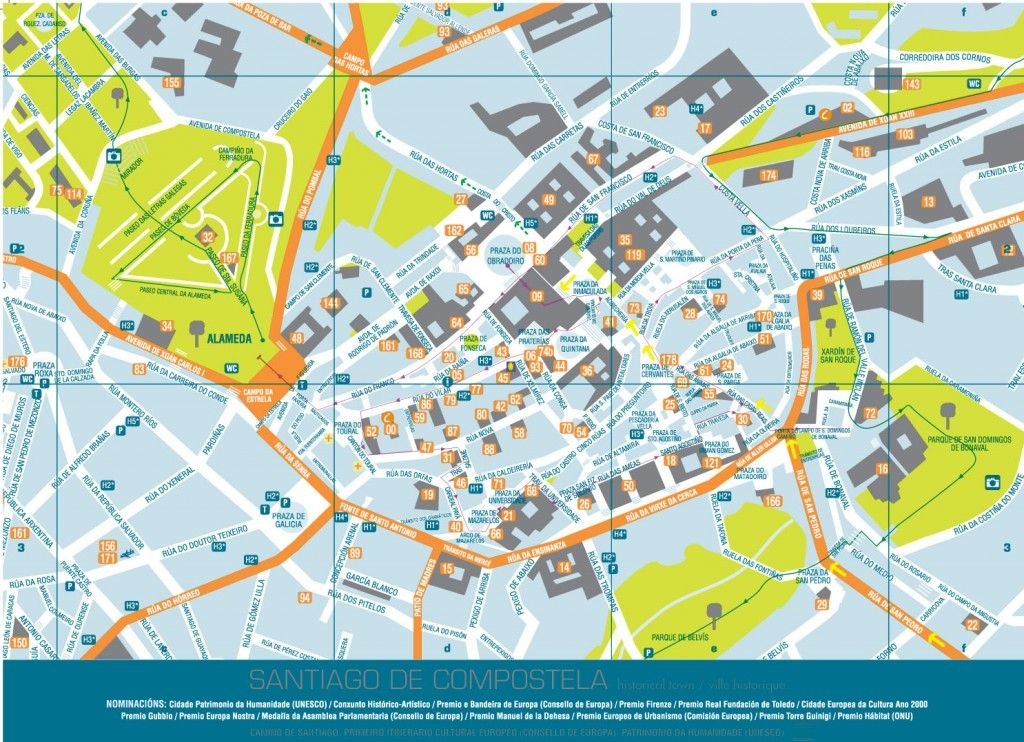 Callejero Mapa De Santiago De Compostela.Plano Callejero Santiago Mapa Turistico Mapas Del Mundo Y