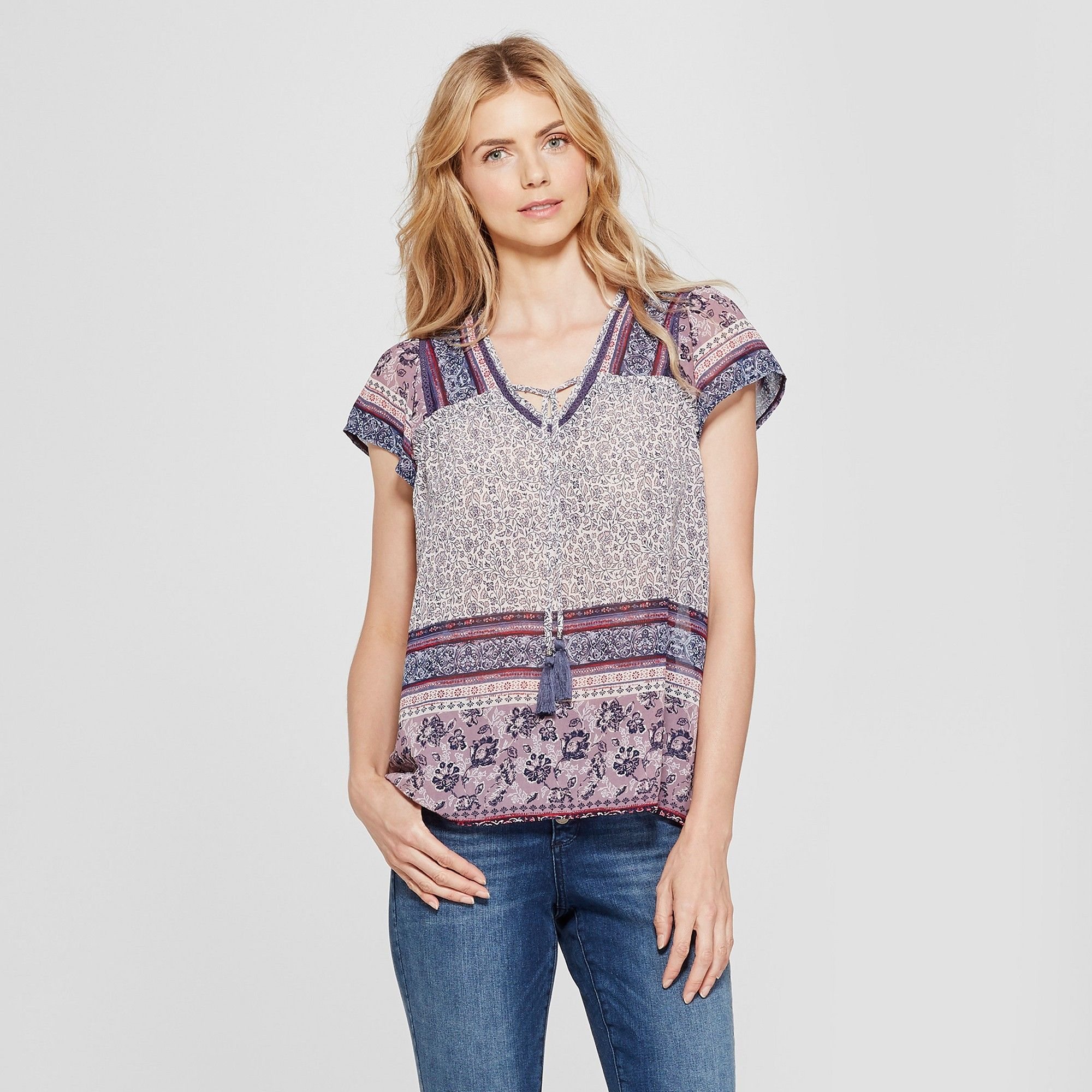7ab46c3090a6ba Women's Flutter Sleeve Mixed Print Peasant Top - Knox Rose Purple Xxl, White